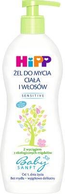 HiPP Babysanft Sensitive Żel do mycia ciała i włosów od 1. dnia życia 400 ml