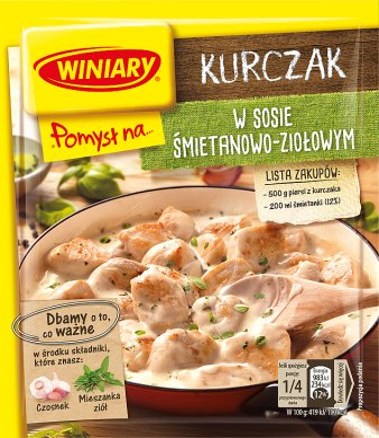 Winiary sos w proszku Pomysł na... kurczaka w sosie śmietanowo - ziołowym