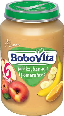 BoboVita owoce jabłka, banany i soczyste pomarańcze