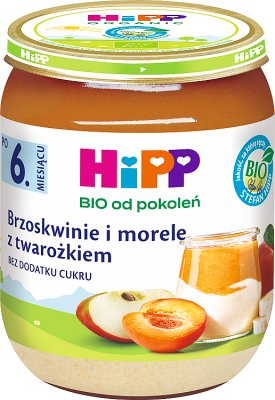 Hipp Owocowy Duet  Brzoskwinie i morele z twarożkiem BIO