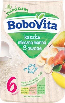 Bobovita Pyszne Śniadanko Mleczna kaszka manna o smaku owocowym