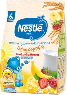 milky rice-maize porridge banana - strawberry , Bifidus BL , 11 vitamins with modified milk