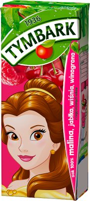 100 % pure juice raspberry , apple, cherry, grape carton with a straw