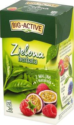 Big-Active herbata zielona ekspresowa z owocem maliny w saszetkach