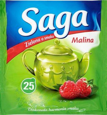 Saga herbata zielona ekspresowa torebki z maliną