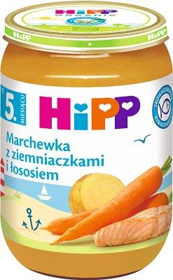 zanahorias con las patatas y el salmón bio