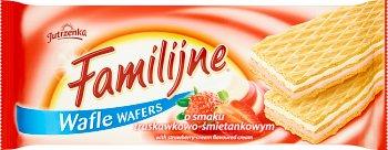 Jutrzenka Wafle Familijne o smaku truskawkowo- śmietankowym