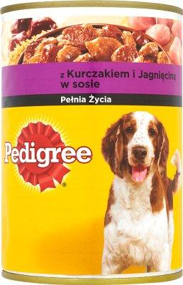 nourriture pour chien avec du poulet et agneau en sauce