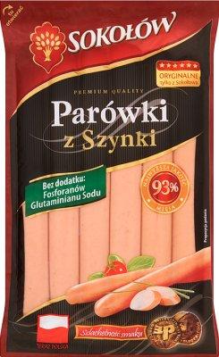 Sokołów parówki z szynki, 93% mięsa