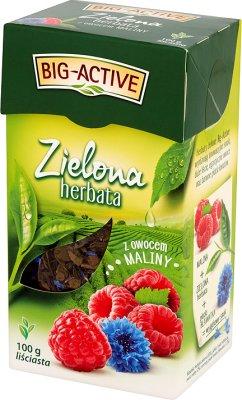 Big-Active Herbata zielona liściasta z owocem maliny