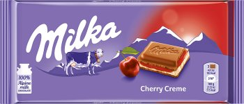 milk chocolate with a milky filling with the taste of cherry