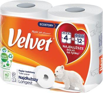 Velvet papier toaletowy najdłuższy  4 długie rolki