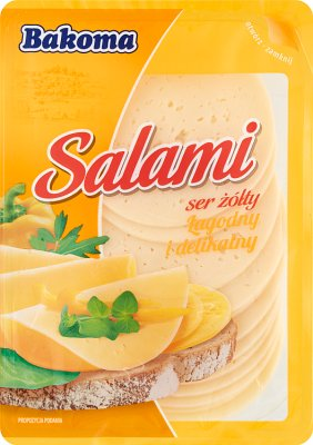 hard cheese sliced ​​salami