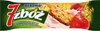 Bakoma 7 zbóż batonik z musli w polewie jogurtowej truskawkowy