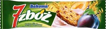 Bakoma 7 zbóż batonik z musli w polewie jogurtowej śliwkowy