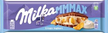 Milka czekolada mleczna z nadzieniem jogurtowym z chrupkami ryżowymi i płatkami kukurydzianymi