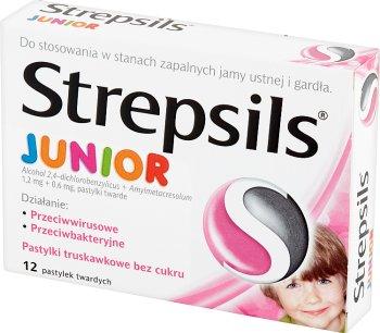 Strepsils Junior pastylki truskawkowe bez cukru