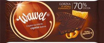 Wawel Dark czekolada gorzka 70% cocoa ze skórką pomarańczy