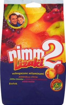piruletas Nimm2 fortificados con vitaminas y jugo en cuatro sabores de fruta 80 g (8 piezas)