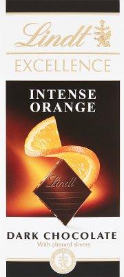 Lindt Excellence Orange Intense Gorzka czekolada z pomarańczą i płatkami migdałów