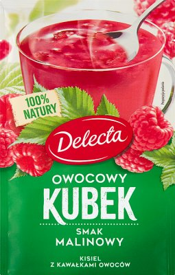 Delecta Owocowy kubek Kisiel smak malinowy z kawałkami owoców