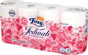 Foxy Jedwab biały trzywarstwowy papier toaletowy