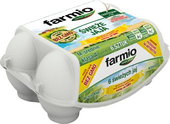 Farmio jaja wolne od GMO od kur karmionych paszą zbożową, rozmiar M