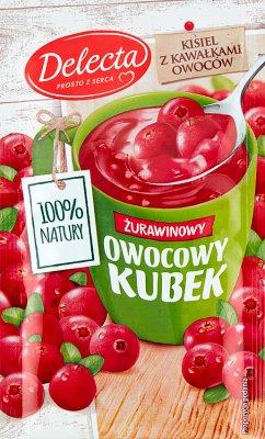 Delecta Owocowy kubek Kisiel smak żurawinowy z kawałkami owoców