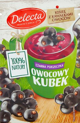 Delecta Owocowy kubek z kawałkami owoców Kisiel smak czarna porzeczka