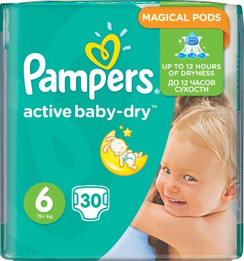 Pampers pieluchy Active Baby dry 6 extra large, 15+ kg