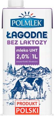 Łagodne lekkostrawne mleko UHT o obniżonej zawartości laktozy, 2% tłuszczu, Polmlek