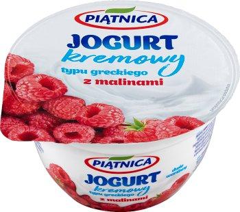 Piątnica jogurt typu greckiego 0% tłuszczu z malinami