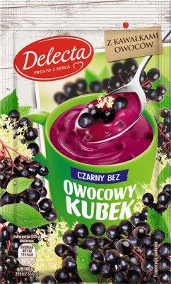 Delecta Owocowy kubek z kawałkami owoców Kisiel smak czarnego bzu