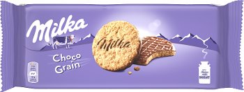 Milka Choco Grains Ciastka z płatkami owsianymi oblane czekoladą mleczną