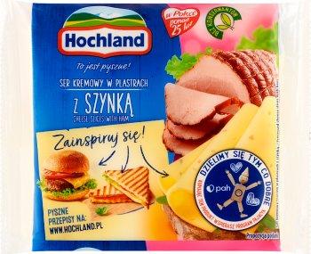 Hochland ser topiony w plastrach z szynką