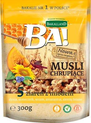 Bakalland musli chrupiące 5 ziaren z miodem