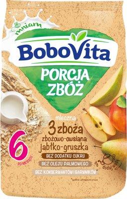 BoboVita porcja zbóż kaszka mleczna jabłkowo-gruszkowa 4 zboża wielozbożowa-gryczana