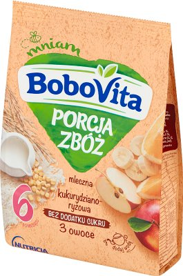 BoboVita portion de céréales gruau de lait 3 fruits maïs-riz