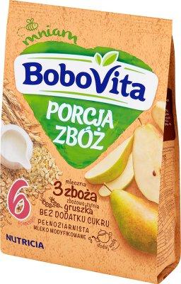 BoboVita porcja zbóż kaszka mleczna gruszkowa 3 zboża wielozbożowa-żytnia pełnoziarnista