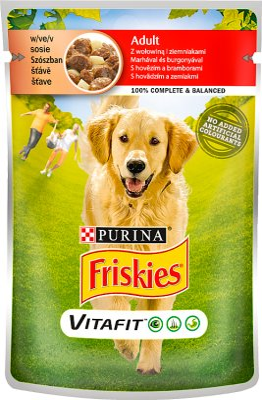 Friskies adultes Aliment complet pour chiens adultes sachet avec du boeuf et pommes de terre en sauce