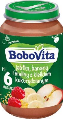 BoboVita deserek jabłka, banany i maliny z kaszką kukurydzianą