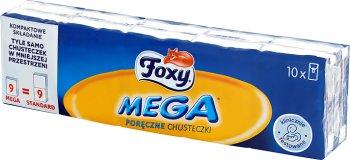 Foxy Mega Poręczne chusteczki higieniczne 3 warstwowe 10 paczek po 9 sztuk