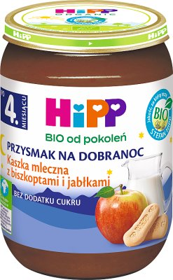 HiPP BIO Przysmak na dobranoc kaszka mleczna z biszkoptami i jabłkami