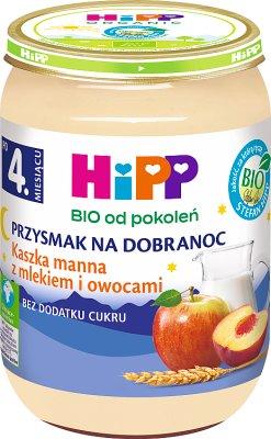 Hipp BIO sémola delicadeza de buenas noches con leche y fruta