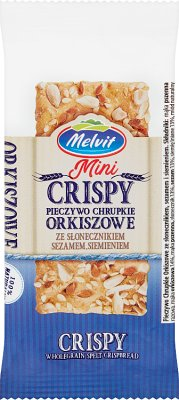 Melvit Mini Crisper Pieczywo chrupkie orkiszowe ze słonecznikiem,sezamem,siemieniem