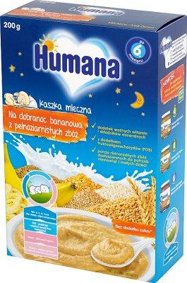 Humana kaszka mleczna na dobranoc bananowa, z pełnoziarnistych zbóż
