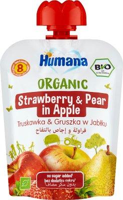 Humana 100% Organic mus jabłko-gruszka-truskawka