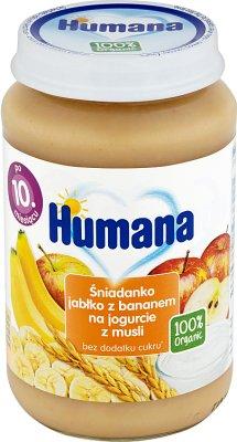 Humana 100% Organic śniadanko jabłko z bananem na jogurcie z musli