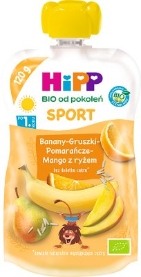 Hipp Wesołe Owoce Mus owocowy BIO Banany-Gruszki-Pomarańcze-Mango z ryżem