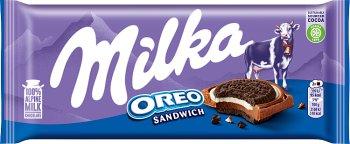 Milka Oreo Czekolada ciastka kakaowe i nadzienie mleczne o smaku waniliowym na czekoladzie mlecznej